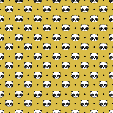 Panda Polka Dots - Mustard (teeny tiny version) by Andrea Lauren fabric by andrea_lauren on Spoonflower - custom fabric