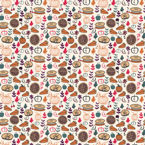Pie (Tiny Version) // thanksgiving pies pie food cute pies apple pie pumpkin pie fabric by andrea_lauren on Spoonflower - custom fabric