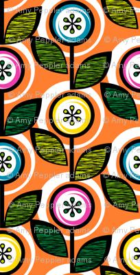Footnote Flower (Orange) || midcentury modern garden floral flowers leaves nature spring summer