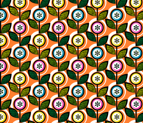 Footnote Flower (Orange) || midcentury modern garden floral flowers leaves nature spring summer fabric by pennycandy on Spoonflower - custom fabric
