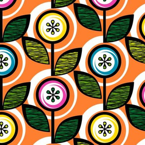 Footnote Flower (Orange) || midcentury modern garden floral flowers leaves nature spring summer