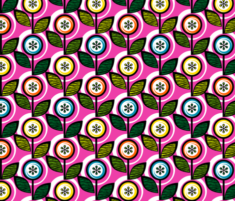 Footnote Flower (Pink) || midcentury modern garden floral flowers leaves nature spring summer fabric by pennycandy on Spoonflower - custom fabric