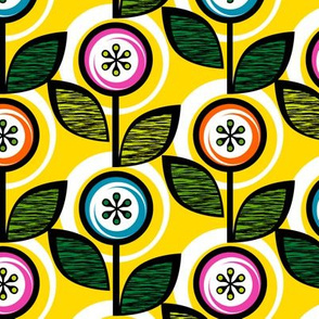 Footnote Flower (Yellow) || midcentury modern garden floral flowers leaves nature spring summer