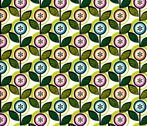 Footnote Flower (White & Lime) || midcentury modern garden floral flowers leaves nature spring summer fabric by pennycandy on Spoonflower - custom fabric