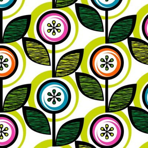 Footnote Flower (White & Lime) || midcentury modern garden floral flowers leaves nature spring summer