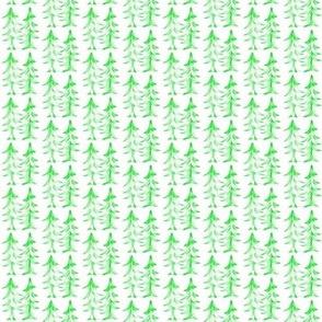 Winter Pine Trees Green White