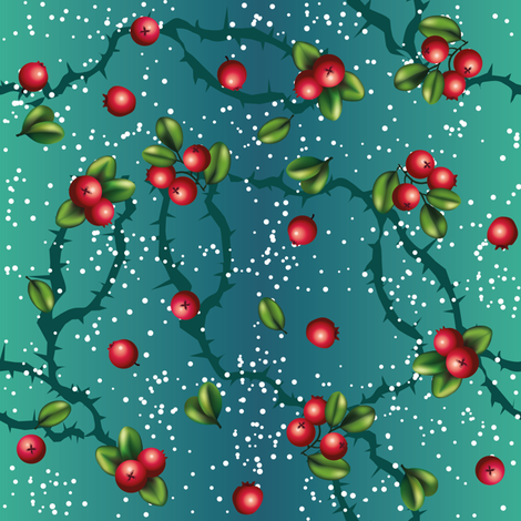 Cranberry on turqoise fabric by milanade on Spoonflower - custom fabric