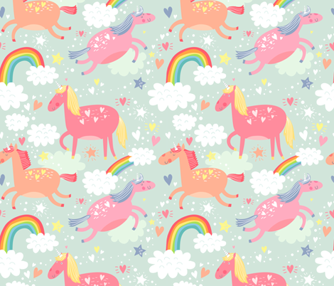 Unicorns & Rainbows fabric by petitgriffin on Spoonflower - custom fabric