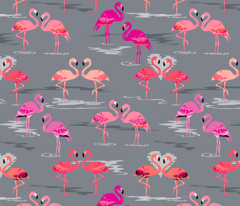 flamingos love grey fabric by coggon_(roz_robinson) on Spoonflower - custom fabric