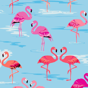 flamingos love aqua - Large
