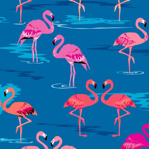 flamingos love blue - Large