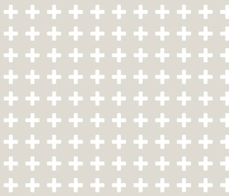 White Cross Taupe fabric by brainsarepretty on Spoonflower - custom fabric