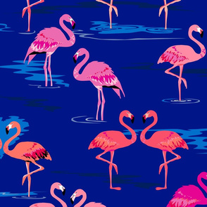 flamingos love navy - Large