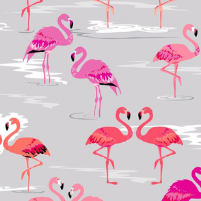 flamingos love silver - Large
