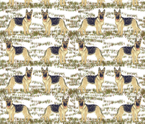 German Shepherd Dog on Snow fabric by eclectic_house on Spoonflower - custom fabric