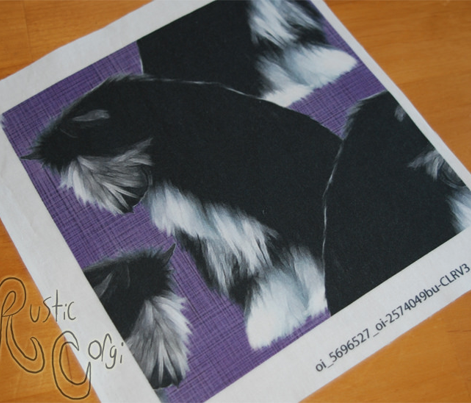 Sitting Chinese Crested powder puff - purple linen