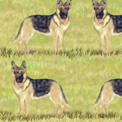 German Shepherd Dog on Grass fabric by eclectic_house on Spoonflower - custom fabric