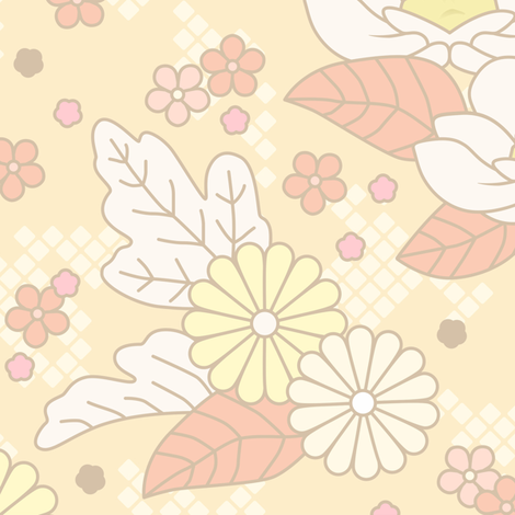 Kotori New Year Floral fabric by sparklepipsi on Spoonflower - custom fabric