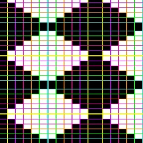 Neon Grid- Black and White