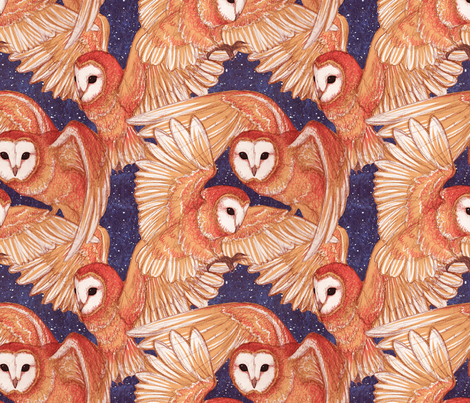 Barn Owls (Night) fabric by laurenjmyers on Spoonflower - custom fabric