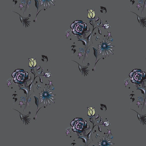 Floral, bats, stars in grey and purple