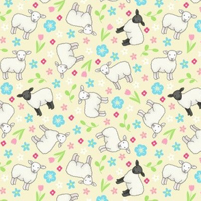 Ditsy Spring Sheep Lemon