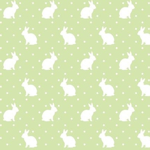 Rabbits and Spots white on green