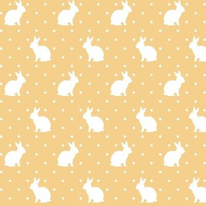 Rabbits and Spots white on orange