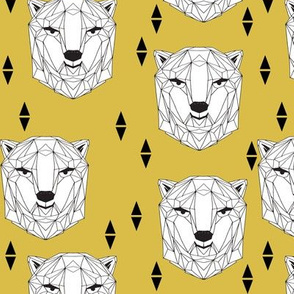 geo polar bear // geometric polar bear head mustard yellow bear cute polar bear design winter scandi bear