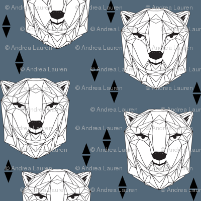 geo polar bear // blue polar bear head geometric bear head fabric andrea lauren design