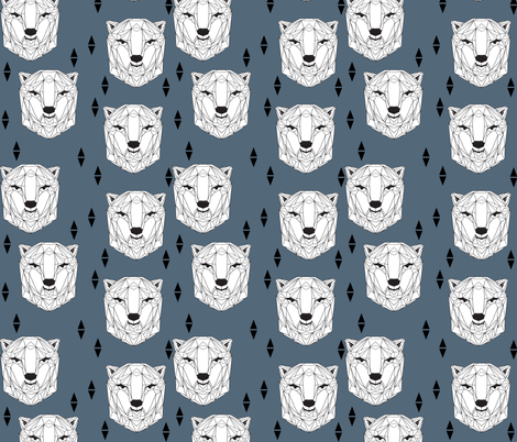 geo polar bear // blue polar bear head geometric bear head fabric andrea lauren design fabric by andrea_lauren on Spoonflower - custom fabric