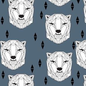 geo polar bear // blue polar bear head geometric bear head fabric andrea lauren design