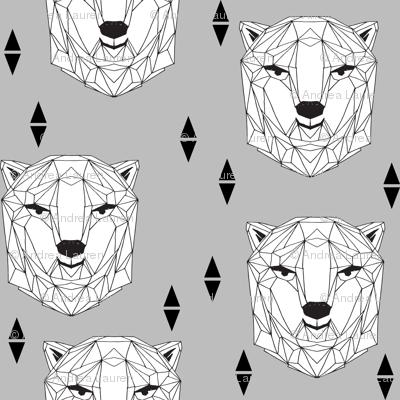 geo polar bear // geometric animals bear head geo bear head design polar bear fabric winter fabric boys design baby boy nursery