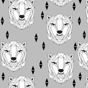 geo polar bear // geometric animals bear head geo bear head design polar bear fabric winter fabric boys design baby boy nursery