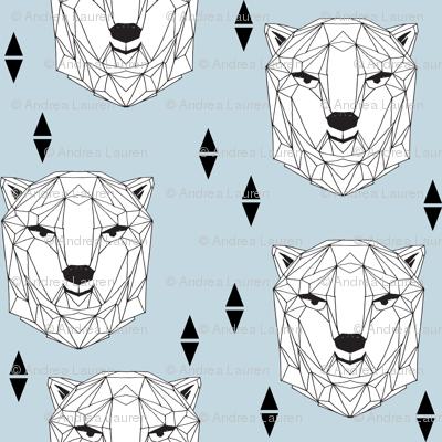 geo polar bear // baby blue polar bear winter bear head cute polar bear design