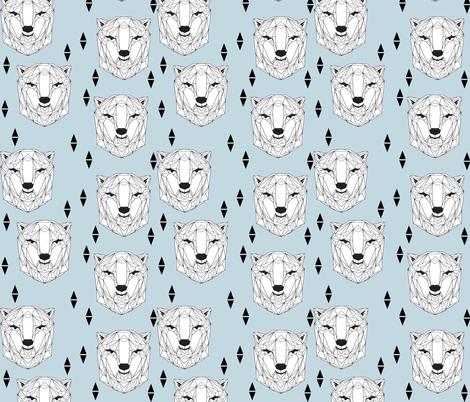 geo polar bear // baby blue polar bear winter bear head cute polar bear design fabric by andrea_lauren on Spoonflower - custom fabric
