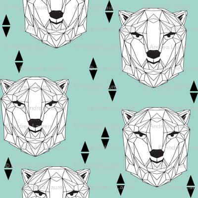 geo polar bear // geometric polar bear head cute mint scandi bear nursery baby bears face