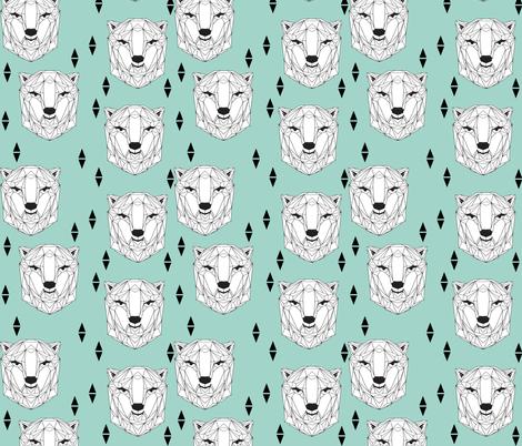 geo polar bear // geometric polar bear head cute mint scandi bear nursery baby bears face fabric by andrea_lauren on Spoonflower - custom fabric