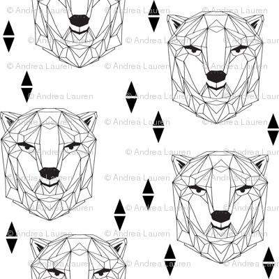 geo polar bear // black and white origami geometric polar bear design cute black and white scandi nursery fabric