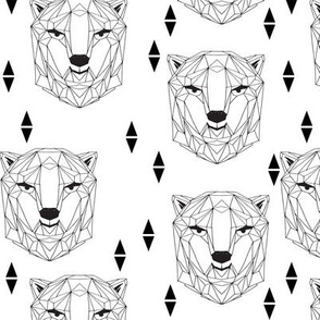 geo polar bear // black and white origami geometric polar bear design cute black and white scandi nursery fabric
