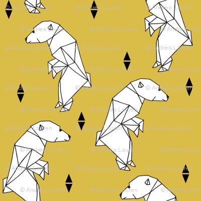 walking polar bear // mustard bear walking polar bear arctic bear yellow nursery fabric endangered animals fabric
