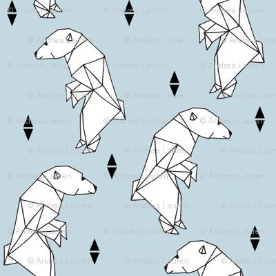 walking polar bear // bear fabric polar bear fabric nursery baby boy fabric