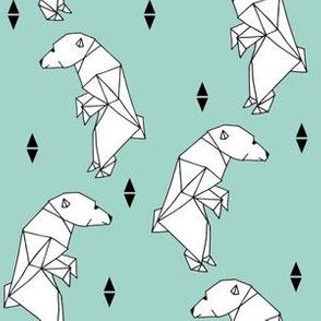 walking polar bear // mint bear geometric bear origami bear nursery bear winter polar bear