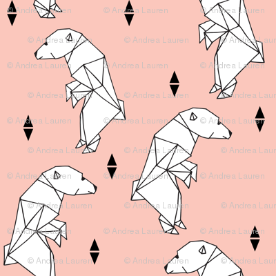 walking polar bear // bear fabric polar bear pink nursery bear cute origami polar bear