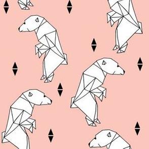 walking polar bear // bear fabric polar bear pink nursery bear cute origami polar bear