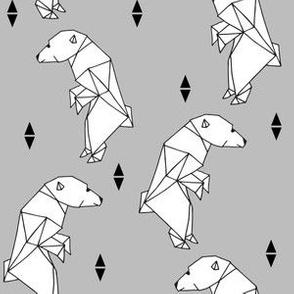 walking polar bear // grey bear cute origami bear polar bear design fabric
