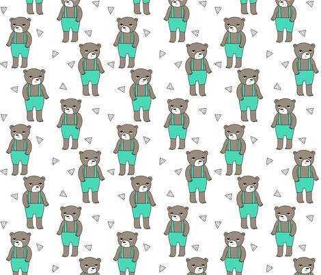 Teddy Bear - LIght Jade by Andrea Lauren  fabric by andrea_lauren on Spoonflower - custom fabric
