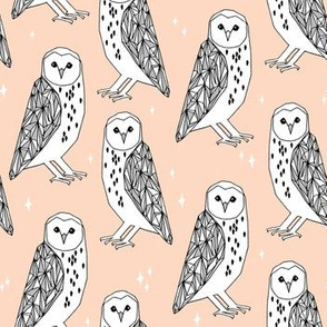 barn owl // blush pastel girly hand-drawn illustration by Andrea Lauren