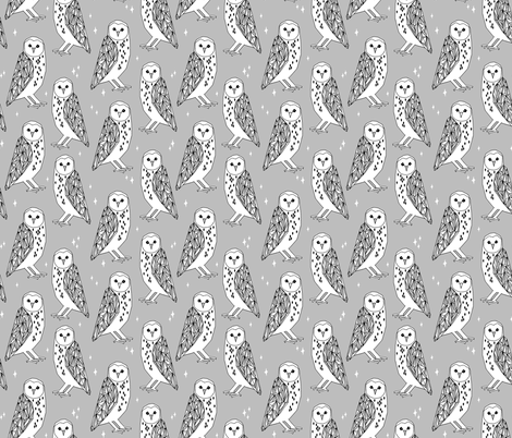 owl // barn owl grey and white hand-drawn original illustration by Andrea Lauren fabric by andrea_lauren on Spoonflower - custom fabric