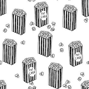 popcorn // black and white novelty food print movies snack food fabric